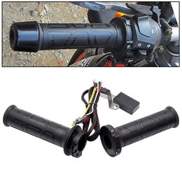 wholesale temperature switch UK - 1 Pair Adjustable Temperature Motorcycle Electric Heated Handle With Heat -Shrinkable T Bush And Multistage Adjustable Switch