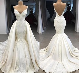 Detachable Bridal Straps Australia - 2019 New Luxury Mermaid Wedding Dresses Spaghetti Straps Lace Appliques Sleeveless Overskirts Backless Detachable Train Custom Bridal Gowns