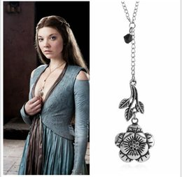 Wholesale TV Movie Game of Thrones Tyrell Rose Necklace Earrings Jewlery Set Replica GOT Margaery Tyrell Leaf Flower Double Dragon Rose Flower Heart