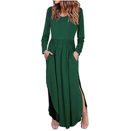 $enCountryForm.capitalKeyWord NZ - Women O-neck Long Sleeve Dresses Tunic Winter Beach Sun Warm Casual Femme Vestidos Lady Clothing Dress Solid Long Vestido L3