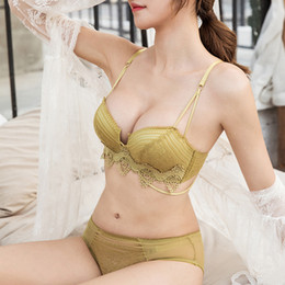 2243caa3eed62 Push Up Bra Set Top Seamless Bralette Wire Free Brassiere BH Small Breasts  Gather Well Brief Set Sexy Underwear For Women AB Cup