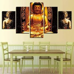 $enCountryForm.capitalKeyWord Australia - 5 Piece Gold Buddha Paintings Wall Art Canvas Pictures Modular Kitchen Restaurant Decor Living Room HD Printed Poster No Frame