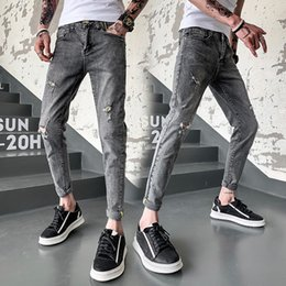 wild jeans fashion 2019 - Spring New Thin Section Jeans Men Slim Fashion Washed Vintage Hole Denim Pants Man Streetwear Wild Hip Hop Trousers Male