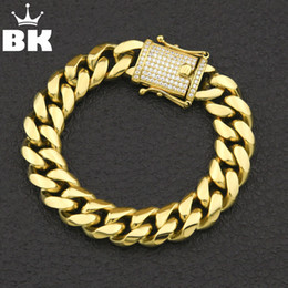 $enCountryForm.capitalKeyWord Australia - 12mm 14mm Cz Stainless Steel Curb Cuban Link Bracelet Gold Silver Plated Hiphop Micro Paved Cz Mens Miami Bangle 7inch 8inch J190703