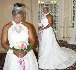 Cheap wedding dresses Custom made online shopping - Plus Size White Wedding Dresses Halter Backless Sweep Train Appliques Lace A Line Garden Country Bridal Gowns vestido de novia Cheap