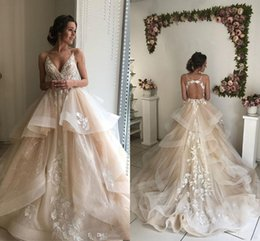 Discount flowing wedding dress sheer - 2019 New Champagne Elegant A Line Spaghetti Lace Wedding Dresses Tiered Ruffle Flowing Lace Applique V Neck Zipper Back