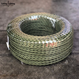Light Vintage Wire Australia - ArmyGreen 100M Meter 2*0.75mm Vintage Twisted Electrical Wire Textile Cable Edison Lamp Cord Braided Retro Pendant Light Lamp