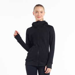 ladies gym tops Australia - Women Sports Jacket LU Solid Zipper Hooded Yoga Coat Ladies Elastic Glove Sleeve Sportswear Top Quality Gym Running Jacket 05