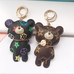 Hot Sale New Fashion Key Chain Accessories Tassel Key Ring PU Leather Bear Pattern Car Keychain Jewelry Bag Charm from lighted car cigarette lighters manufacturers