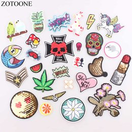 $enCountryForm.capitalKeyWord Australia - ZOTOONE 1PC Letter Fruit Patch Cheap Embroidered Cute Patches Hippie Iron On Cartoon Patches For Clothing Heart Unicorn Patch B