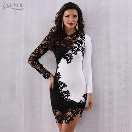 645cfc0e159322 Adyce Zomer Bodycon Celebrity Avond Party Dress Vestidos Elegante Sexy  Lange Mouwen Lace Hollow Out Mini Club Jurk Vrouw