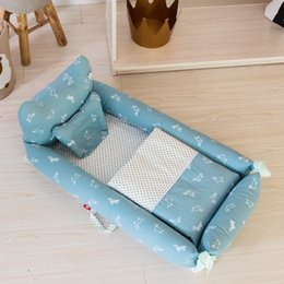 $enCountryForm.capitalKeyWord NZ - Baby Cot Kids Neonatal Portable Bed Pure Cotton Backrest Protection Baby Bed Three-piece Outdoor