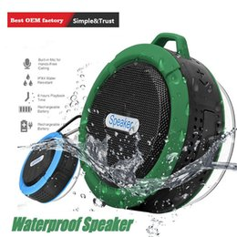 wholesale mini suction cups Australia - C6 Speaker Bluetooth Speaker Wireless Potable Audio Player Waterproof Speaker Hook Suction Cup Stereo Music Player With Retail Pack