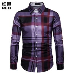 Long Collared Shirts Men Australia - 2019 Mens Plaid Long Sleeve Shirts Fashion Turn-down Collar Purple Red Navy Smart Casual Shirts Top For Men Plus Size 3XL