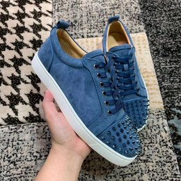 Discount cheap fashion sneakers men Cheap Junior Spikes Low Top Blue Suede Leather Studs Men Red Bottom Sneaker Shoes,Fashion Women Casual Walking Party Wedding EU35-47