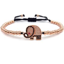 $enCountryForm.capitalKeyWord Australia - New Arrival Fashion Charm Fashion Pave CZ Elephant Connector Women Charm Bracelet 4mm Bead Braided Macrame Bracelet Jewelry Gift