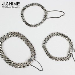 925 thick chain NZ - JShine Retro Old 925 Sterling Silver Bracelets for Women Men Punk Thick Link Chain Charm Bracelet Female Silver Fine Jewelry