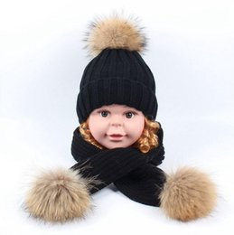 Wholesale Brand Children Cap Suit two piece autumn and winter water mink hair ball Thick Knit Hat shawl Kids boy girl baby hat scarf set