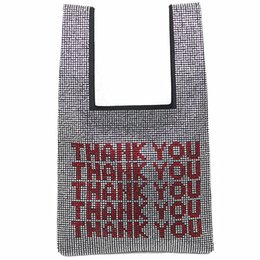 Wholesale Splice Rhinestone Hand bags Small Diamonds Clutches Bling Bling Sparkling Handbags Luxury Designer Letters Tote Bag
