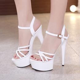 $enCountryForm.capitalKeyWord NZ - 15cm white gladiator sandals summer slides sexy women high heels bride wedding shoes size 34 to 40