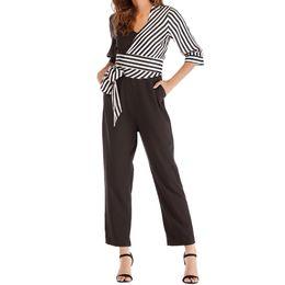 $enCountryForm.capitalKeyWord Australia - Women Fashion Striped Bow Bandage Patchwork Pencil Pants Jumpsuit Overall T3190605