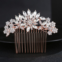 $enCountryForm.capitalKeyWord Australia - Women Hair Combs Wedding Hair Accessories Tiara Rhinestone Rose Gold Bridal Hair Ornaments Flower Head Jewelry Headband