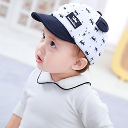 baby cotton sunhats UK - Cute Cat Print Baby Hats Summer Baby Boys Girls Kids Peak Hat Wave Point Baseball Cap Sunhat for 0-3Y baby cap1
