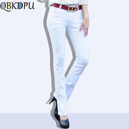 low rise jeans plus size 2019 - Mom's plus size flare jeans woman street Stretch vintage pants sexy low rise bell bottom jeans candy color slim den