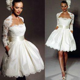 $enCountryForm.capitalKeyWord Australia - Wedding Dresses with Wrap Knee Length Mini Short Wedding Dresses A Line Sweetheart Neck Lace Satin Short Country Bridal Gowns Custom Made