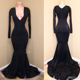 Gorgeous Long Lace Black Dress Australia - 2019 Gorgeous Deep V Neck Mermaid Prom Dresses With Long Sleeves Black Appliques Lace Formal Party Gowns Plus Size Girl Evening Dresses