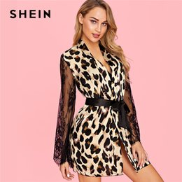9c0a3cf008 Leopard Lingerie Set NZ - SHEIN Contrast Lace Belted Leopard Mini Robe Sexy  With Thong Lingerie