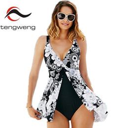 $enCountryForm.capitalKeyWord Australia - Tengweng Plus Size Swimwear Women Large Size One Piece Swimsuit Dress Female Bathing Suit 2019 Swim Skirt One Piece Beach Wear Y19062901