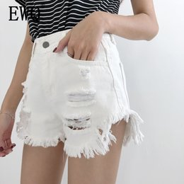 $enCountryForm.capitalKeyWord Australia - [EWQ]2019 summer new fashion clothes Solid color Vintage Hole high waist high waist Ripped women Casual Shorts denim pants QH855