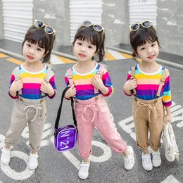 $enCountryForm.capitalKeyWord Australia - Autumn Fashion Baby Girl Clothes Children Candy Colors Rainbow T Shirt Strap Pants Clothing Sets Kids Toddler Cotton Tracksuits