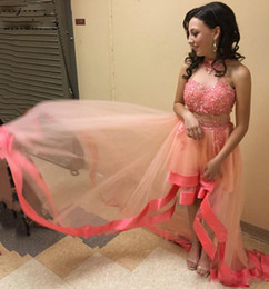 $enCountryForm.capitalKeyWord Australia - Sweet Pink High Low A Line Prom Dresses High Neck Lace Appliques with Bead and Sequined Graduation Dress Tiered Tulle Skirt Party Gowns