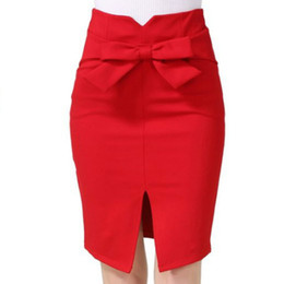 $enCountryForm.capitalKeyWord UK - Elastic Women's Bow Skirt Sexy Slits Package Hip Professional One Step Skirt Plus Size S-5XL