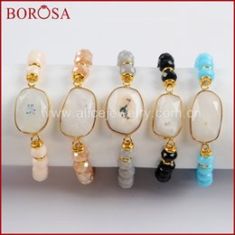 Faceted Crystal Gems Australia - BOROSA 5PCS Gold Color Natural White Solar Quartz Faceted With 8mm Glass Crystal Beads Bracelets Gems Bangle Women Jewelry G1551