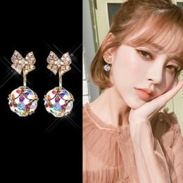 $enCountryForm.capitalKeyWord Australia - Simple S925 sterling silver needle bow color diamond earrings female temperament wild back-mounted earrings