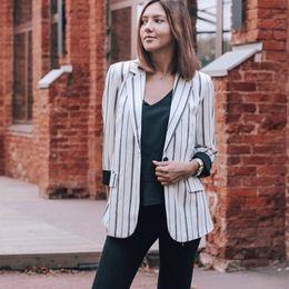 $enCountryForm.capitalKeyWord Australia - Striped Women Blazer Autumn Female Work Jacket Vintage High Quality Fashion Office Lady Elegant Blazers Feminino Black White