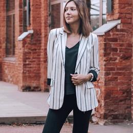 $enCountryForm.capitalKeyWord Australia - Women Striped Blazer Autumn Female Work Jacket Vintage High Quality Fashion Office Lady Elegant Blazers Feminino Black White