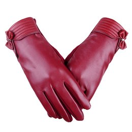 Leather Mitten Gloves Australia - 200PAIRS   LOT Fashion Female Gloves Winter Five Finger Screen Mittens PU Leather Hand Warm Outdoor Riding Driving Gloves
