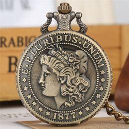 $enCountryForm.capitalKeyWord NZ - Quartz Pocket Watch Thick Chain Retro Bronze Pendant Watches American Coin Morgan Half Dollar zakhorloge COIN Collection Gift