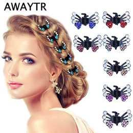 hair claws Australia - 6 Pcs set Hair Clips For Women Fashion Girls Hair Accories 2019 Kids Crystal Butterfly Pins Hair Claws