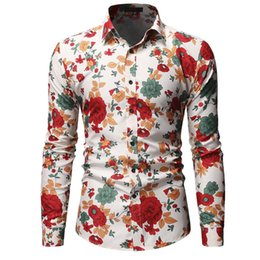 Wholesale new pattern shirts for men resale online - Hawaiian Shirt for Male Flower pattern Slim fit New Red Pink Men s Casual Floral Shirt Stay Long sleeve Blouse Men