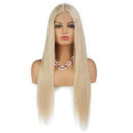 full lace wig blonde long UK - LIN MAN Full Lace Human Hair Wigs Blonde Straight Lace Front Wigs Brazilian Remy Human Hair Pre plucked Hairline