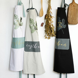 $enCountryForm.capitalKeyWord NZ - Nordic Wind Pure cotton Printin apron unisex kitchen cooking aprons for woman Coffee shops and restaurant washed smock sarongs
