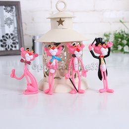 Discount naughty doll - 4 pcs lot Action & Toy Figures Pink Panther Doll Cute Doll Micro Landscape Decoration Cartoon Naughty Leopard Model