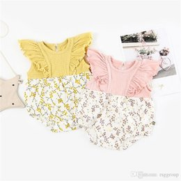 $enCountryForm.capitalKeyWord UK - INS New High-end 100% Cotton Toddler Baby Girl Rompers Ruffles Fly Short Sleeve Floral Printing Patchwork Jumpsuit Newborn Onesies for 3-18M