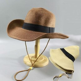 hats big heads men Canada - Summer Man Foldable Straw Hats & Caps Hats, Scarves & Gloves Outdoors Cowboy Hat Sandy Beach Panama Hats Big Head Man Plus Size Fedora Hat 5