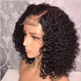 $enCountryForm.capitalKeyWord Australia - top Human Hair 150% density Wigs Brazilian Curly Short Lace Wig with Baby Hair Side Part Glueless Lace Front Wig for Women FZP203
